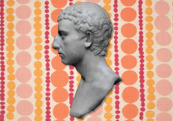 bust of josephus on top of abstract polka dot background