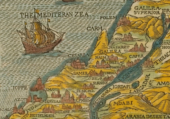 Illustrated map from the Penn Libraries collection, by Christopher Barker, 1595