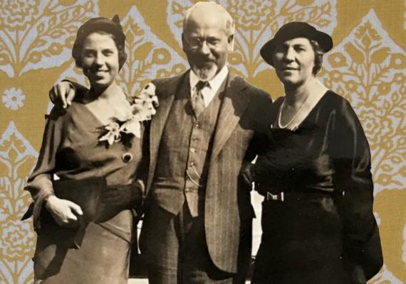 Hadassah Kaplan, Mordecai M. Kaplan, and Lena Kaplan aboard the Exochorda in New York prior to Hadassah's departure to Jaffa, Palestine, September 24, 1932, private collection.