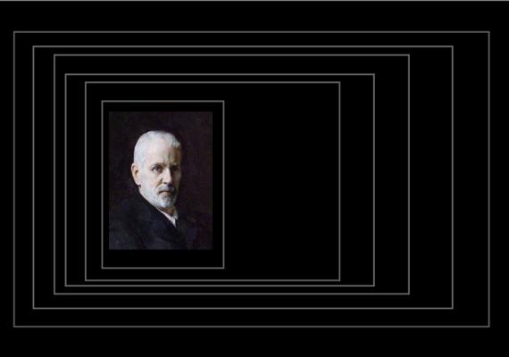 Claude Montefiore portrait in receding black boxes