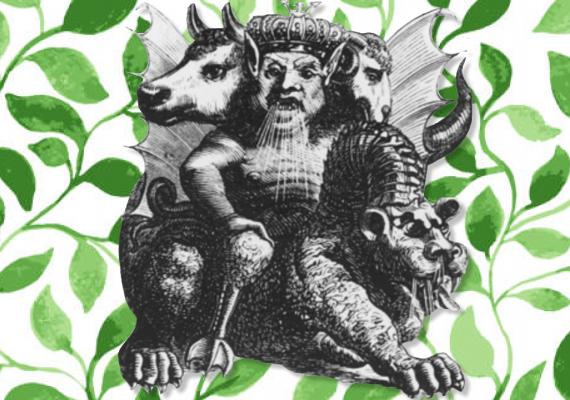 black and white conglomerative illustration of magical creatures atop green vines
