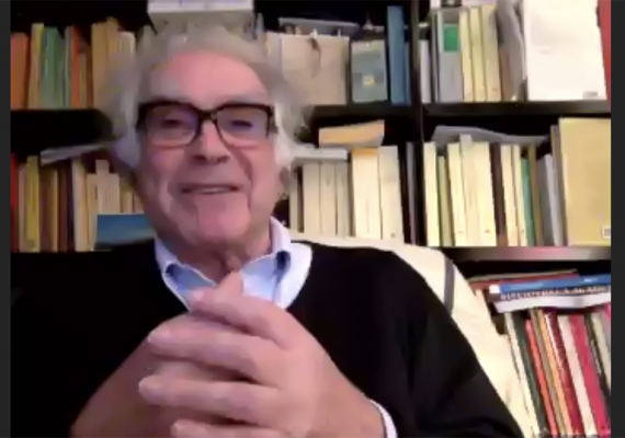 screenshot of Carlo Ginzburg from the YouTube recording