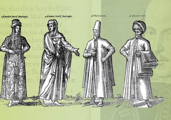 de Nicolay illustrations juxtaposed with shakespeare folio portrait