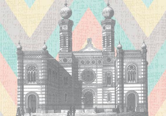 black and white illustration of ornate synagogue in front of colorful chevron-striped background