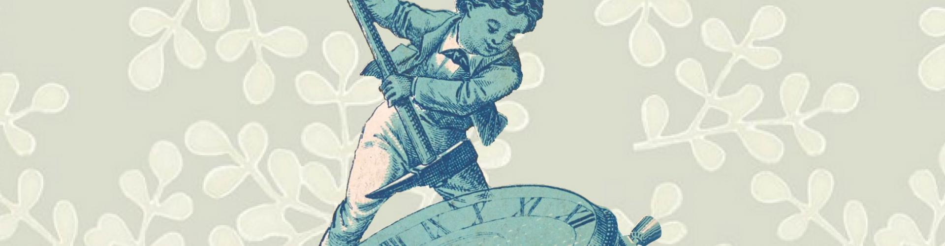 illustration of boy fixing stop watch