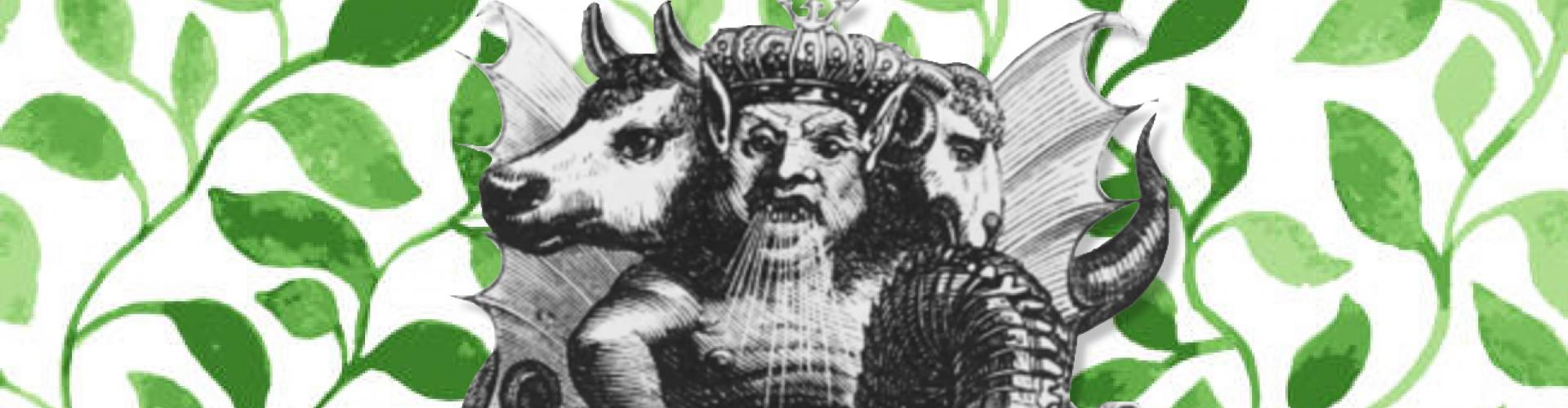 black and white illustration of demon atop green vines