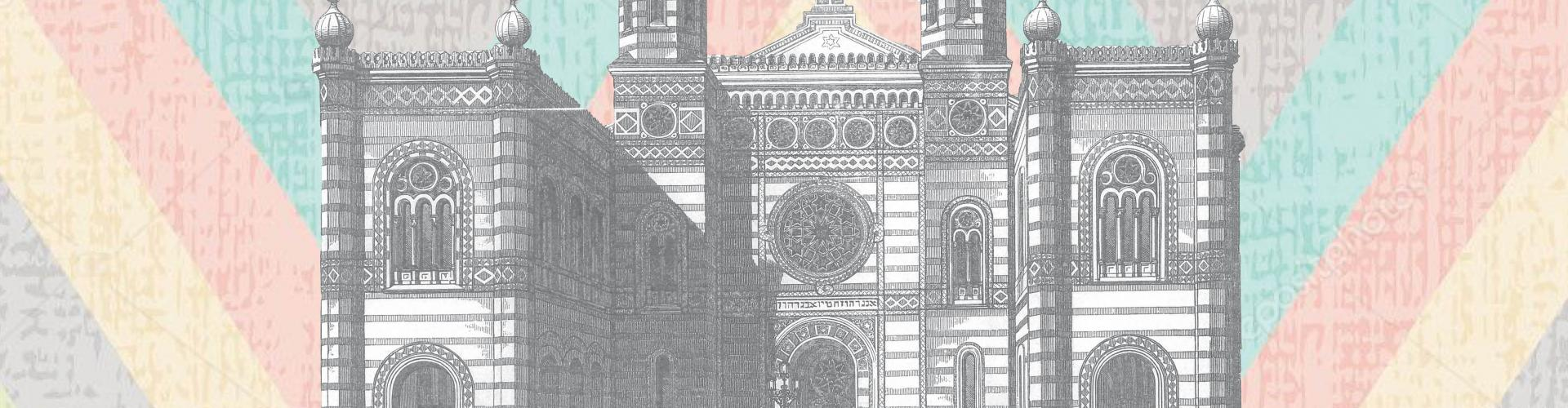 black and white illustration of an ornate synagogue facade on top of colorful chevron background
